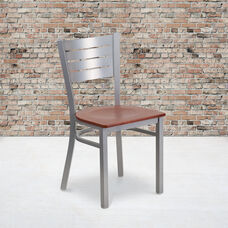 Silver Slat Back Metal Restaurant Chair with Cherry Wood Seat