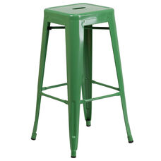 "Commercial Grade 30"" High Backless Green Metal Indoor-Outdoor Barstool with Square Seat"