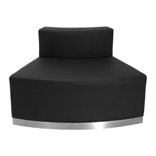 HERCULES Alon Series Black LeatherSoft Convex Chair with Brushed Stainless Steel Base