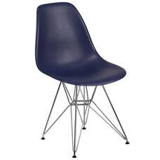 Elon Series Navy Plastic Chair with Chrome Base