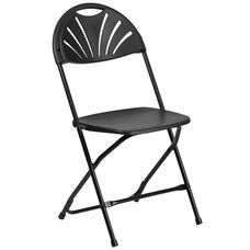 HERCULES Series 650 lb. Capacity Black Plastic Fan Back Folding Chair