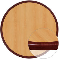 48'' Round 2-Tone High-Gloss Cherry Resin Table Top with 2'' Thick Mahogany Edge