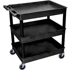 Heavy Duty Multi-Purpose Large Mobile Tub Utility Cart with 3 Tub Shelves - Black - 32