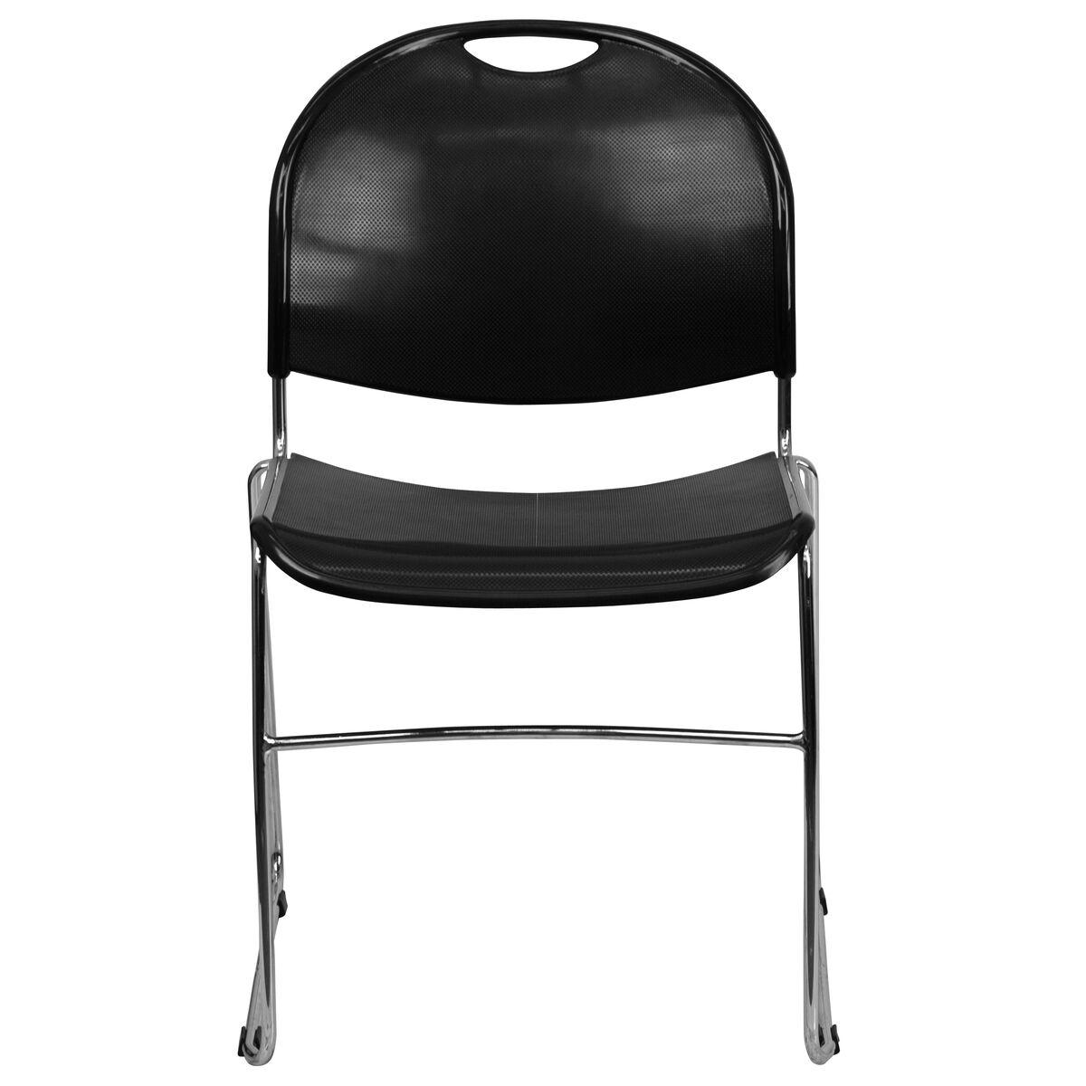 Black Stack Chair Chrome Frame Rut 188 Bk Chr Gg