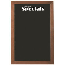 Walnut Stained Solid Oak Framed Pure Black Glass Marker Board with One White Marker and Easy Install Sturdy Loop Hangers - 24