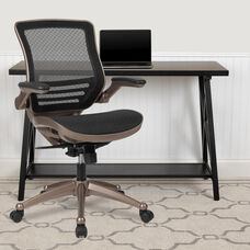 Mid-Back Transparent Black Mesh Executive Swivel Office Chair with Melrose Gold Frame and Flip-Up Arms