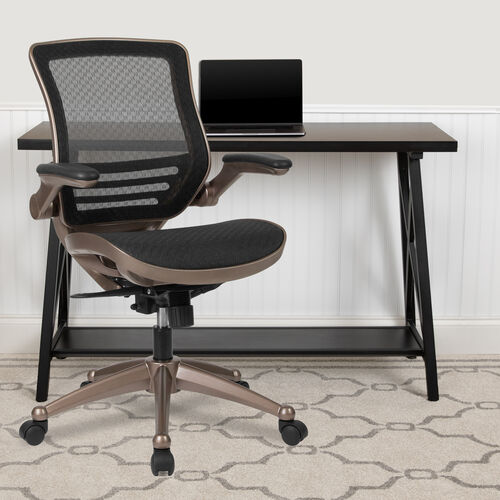 Our Mid-Back Transparent Black Mesh Executive Swivel Office Chair with Melrose Gold Frame and Flip-Up Arms is on sale now.