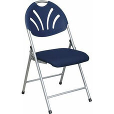 Work Smart Plastic Folding Chair with Fan Back and Padded Mesh Seat - Set of 4 - Blue with Silver Frame