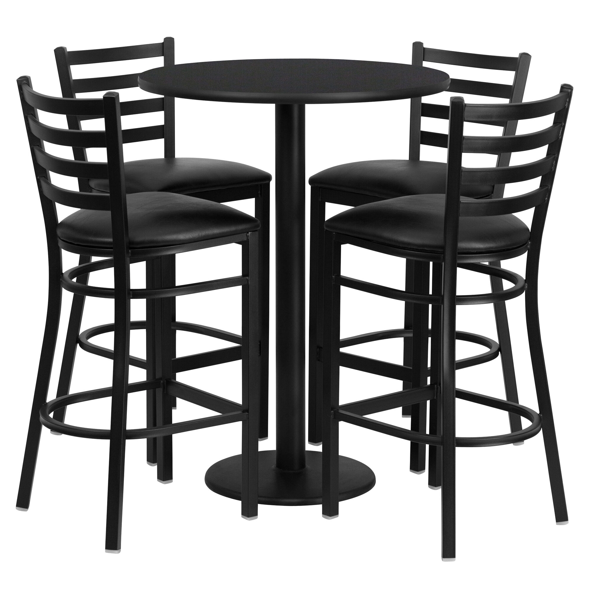 30 Round High Top Restaurant Cafe Bar Table And Cherry: 30RD BK Bar Table-BK VYL Seat REST-016-BK-BK-TDR