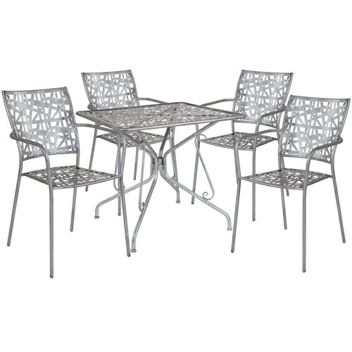 """Our Agostina Series 31.5"""" Square Antique Silver Indoor-Outdoor Steel Patio Table with 4 Stack Chairs is on sale now."""