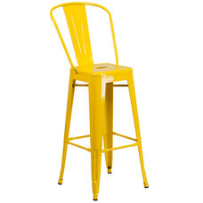 "Commercial Grade 30"" High Yellow Metal Indoor-Outdoor Barstool with Back"