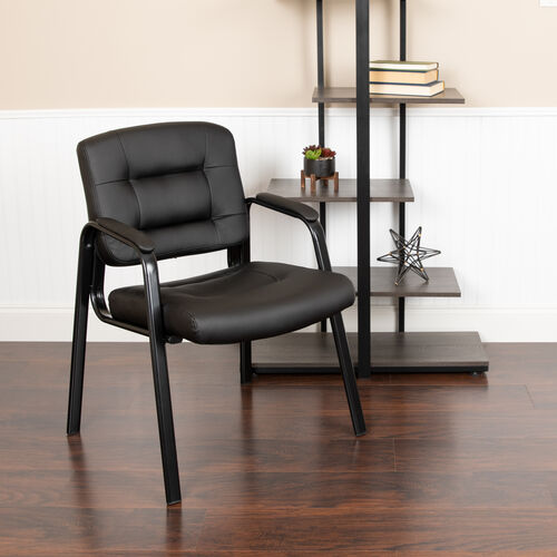 Basics LeatherSoft Executive Reception Chair with Black Metal Frame, Black, BIFMA Certified