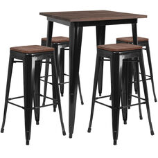 """31.5"""" Square Black Metal Bar Table Set with Wood Top and 4 Backless Stools"""