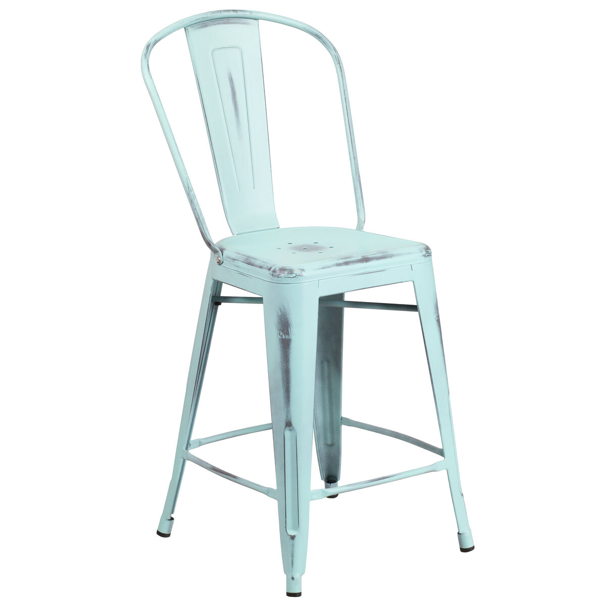 Distressed Gn Blue Metal Stool Et 3534 24 Db Gg