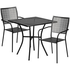 "Commercial Grade 28"" Square Black Indoor-Outdoor Steel Patio Table Set with 2 Square Back Chairs"