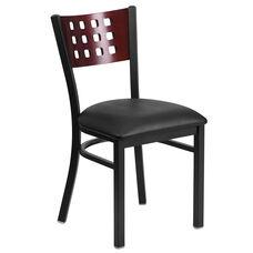 Black Decorative Cutout Back Metal Restaurant Chair with Mahogany Wood Back & Black Vinyl Seat
