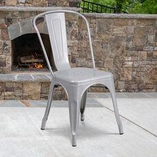Commercial Grade Silver Metal Indoor-Outdoor Stackable Chair