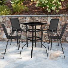 5 Piece Outdoor Glass Bar Patio Table Set with 4 Barstools