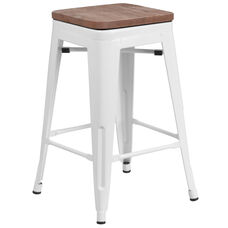 "24"" High Backless White Metal Counter Height Stool with Square Wood Seat"
