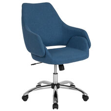 Madrid Home and Office Upholstered Mid-Back Chair in Blue Fabric