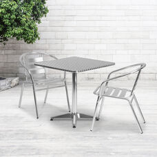 27.5'' Square Aluminum Indoor-Outdoor Table with Base