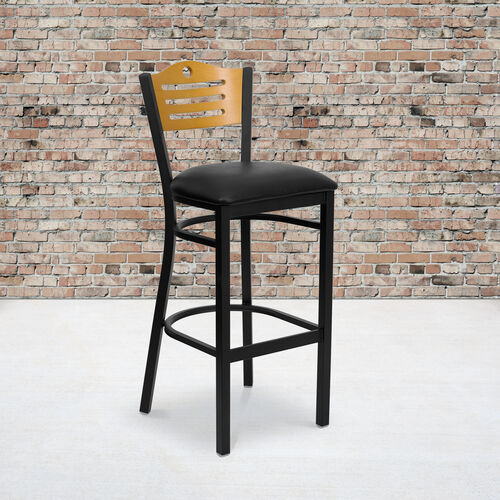 Our Black Slat Back Metal Restaurant Barstool with Natural Wood Back & Black Vinyl Seat is on sale now.