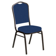 Embroidered Crown Back Banquet Chair in Venus Cobalt Fabric - Gold Vein Frame
