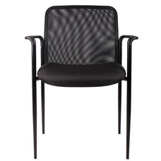 Breathable Mesh Stack Guest Chair with Powder Coated Steel Frame - Black