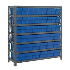 7 Shelf Open Unit with 18 Large Drawers and 27 Small Drawers - Blue