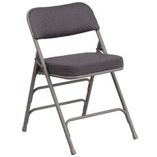 HERCULES Series Premium Curved Triple Braced & Double-Hinged Gray Fabric Metal Folding Chair