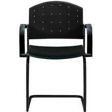 Eddy Sled Base Black Stack Side Chair with Arms