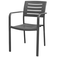 Adele Outdoor Aluminum Stackable Dining Arm Chair - Gunmetal Gray