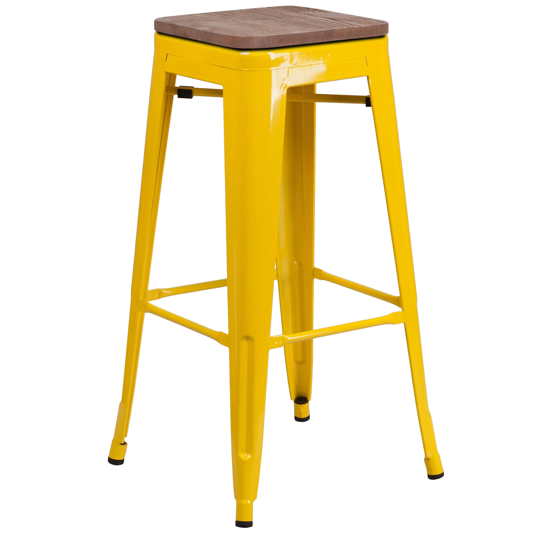 30 Yellow Metal Barstool Ch 31320 30 Yl Wd Gg