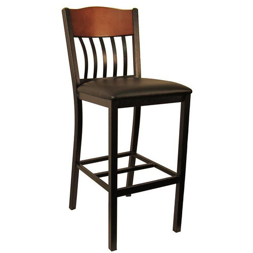 Our Metal Vertical Slat Back Barstool with Black Vinyl Seat is on sale now.