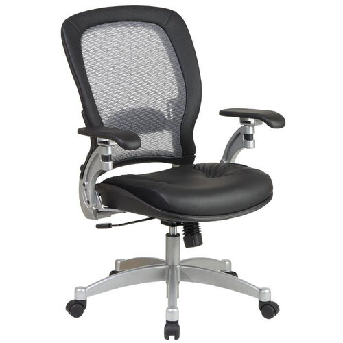 Our Space Professional Light Air Grid Back Office Chair with 2-to-1 Synchro Tilt, Leather Seat, and Platinum Finish Accents - Black is on sale now.