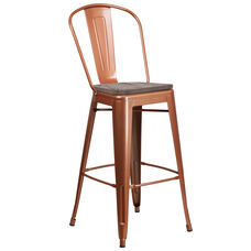 """30"""" High Copper Metal Barstool with Back and Wood Seat"""