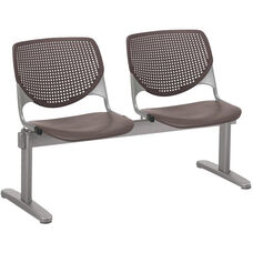 2300 KOOL Series Beam Seating with 2 Poly Perforated Back and Seats with Silver Frame - Brownstone