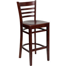 Mahogany Finished Ladder Back Wooden Restaurant Barstool