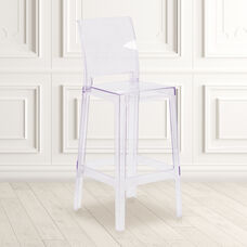 Ghost Barstool with Square Back in Transparent Crystal