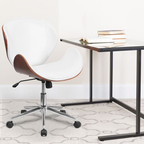 Our Mid-Back Walnut Wood Conference Office Chair in White LeatherSoft is on sale now.