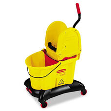 Rubbermaid® Commercial WaveBrake Dual-Water Down-Press Bucket/Wringer Combo - 8.75gal - Yellow