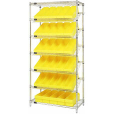 Stationary Slanted Wire Shelving with 36 Euro Drawers - Yellow