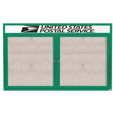2 Door Outdoor Illuminated Enclosed Bulletin Board with Header and Green Powder Coated Aluminum Frame - 48