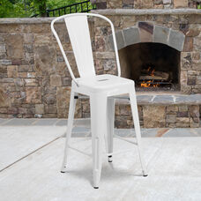 "Commercial Grade 24"" High White Metal Indoor-Outdoor Counter Height Stool with Removable Back"