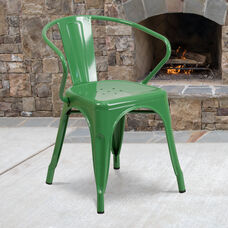Commercial Grade Green Metal Indoor-Outdoor Chair with Arms