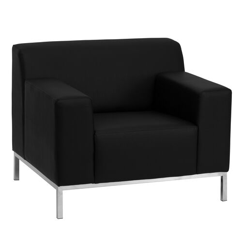 HERCULES Definity Series Contemporary Black LeatherSoft Chair with Stainless Steel Frame