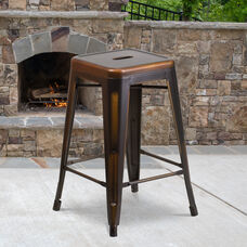 "Commercial Grade 24"" High Backless Distressed Copper Metal Indoor-Outdoor Counter Height Stool"