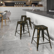 """Commercial Grade 24"""" High Backless Distressed Copper Metal Indoor-Outdoor Counter Height Stool"""