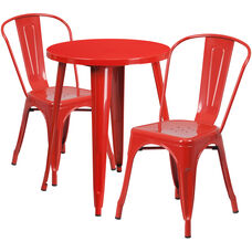 """Commercial Grade 24"""" Round Red Metal Indoor-Outdoor Table Set with 2 Cafe Chairs"""
