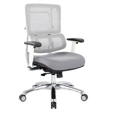 Pro-Line II Breathable Vertical Mesh Office Chair with Fabric Seat - White and Steel